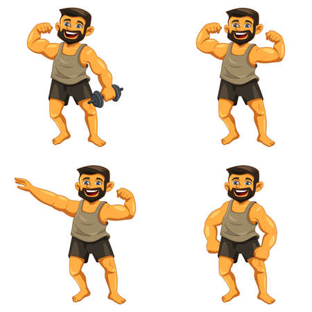 strong men: A vector illustration of muscle man posing icons