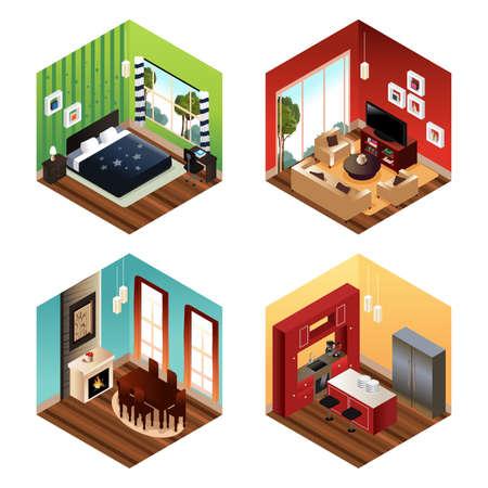 Een vector illustratie van de moderne woning scene Stock Illustratie