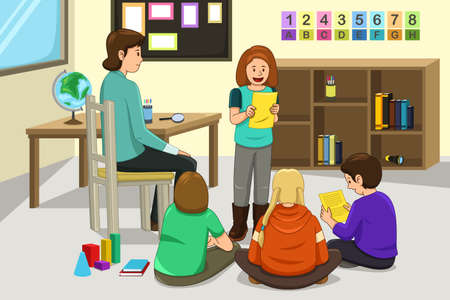 classmate: A vector illustration of student doing presentation in front of the class