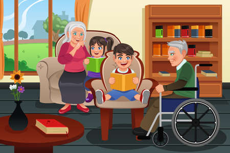 A vector illustration kids visiting a retirement home and read stories to residents