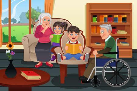 Une illustration vectorielle enfants visitent une maison de retraite et de lire des histoires aux résidents