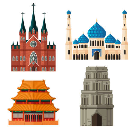 A vector illustration of set of place of worship for different religions