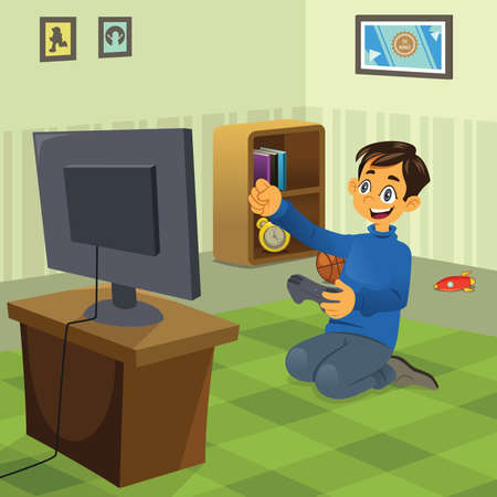 video game: A vector illustration of happy boy playing video game