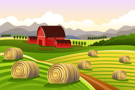 A vector illustration of farm scene with rolled hays Illustration