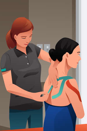 injure: A vector illustration of physical therapist massage injured shoulder with kinesiotaping