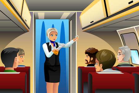 Een vector illustratie van stewardess doet veiligheid demonstratie vóór het opstijgen