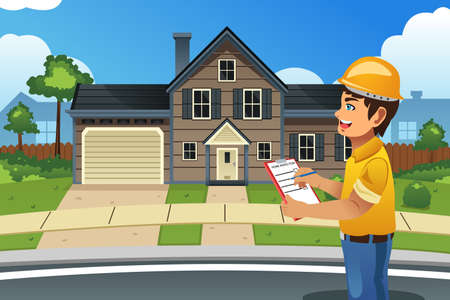 home inspector: A vector illustration of home inspector in front of a house