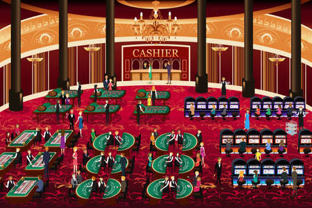 A vector illustration of casino scene Illusztráció