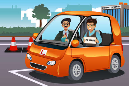 A vector illustration of teenager driver passes driving test and holding his driver's license Vectores