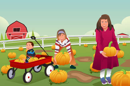 autumn season: A vector illustration of kids on a pumpkin patch trip in autumn or fall season