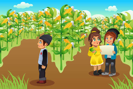 corn field: A vector illustration of happy kids on a corn field