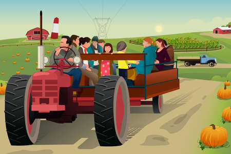 hayride: A vector illustration of people on hayride in a farm during fall season