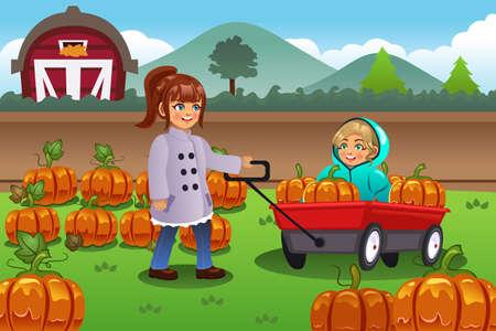 Una ilustración vectorial de los niños en un viaje de corrección de la calabaza en la temporada de otoño o el otoño