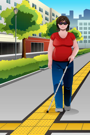 A vector illustration of blind woman walking on sidewalk
