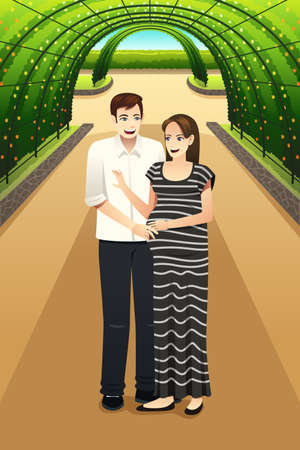 happy pregnant: A vector illustration of happy pregnant couple walking in the city park Illustration