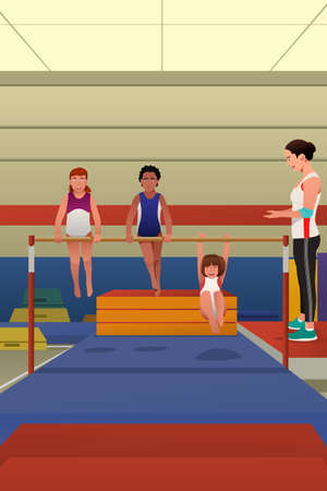 A vector illustration of little girls playing and hanging on horizontal bar by gymnastic equipment