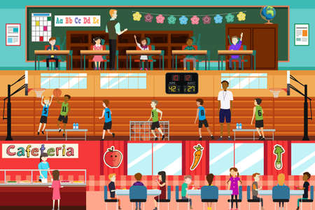 school cafeteria: A vector illustration of student in a school Illustration