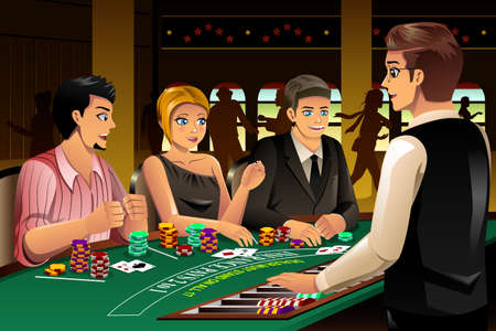 hangout: A vector illustration of happy people gambling in a casino