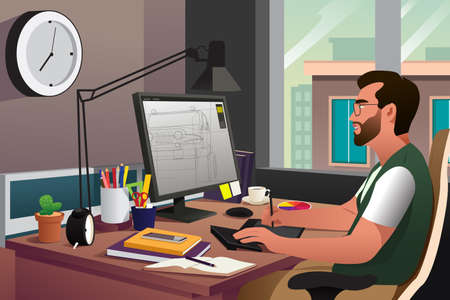 joyful: A vector illustration of illustrator working in front of computer using a pen
