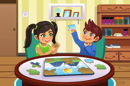 adolescent: A vector illustration of happy kids solving puzzles together Illustration