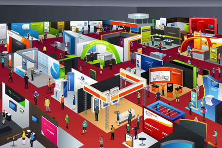 A vector illustration of people looking at an exhibition booths