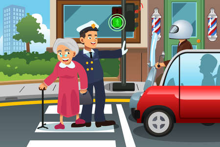 A vector illustration of policeman helping senior lady crossing the street