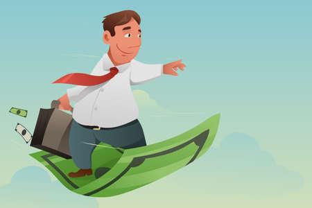 金融の概念のためのお金カーペット飛ぶビジネスマンのベクトル イラスト