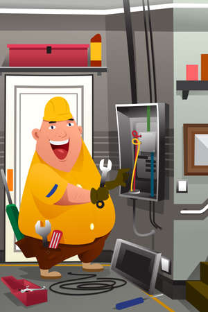 A vector illustration of electrician working in front of fuse switch board Illusztráció