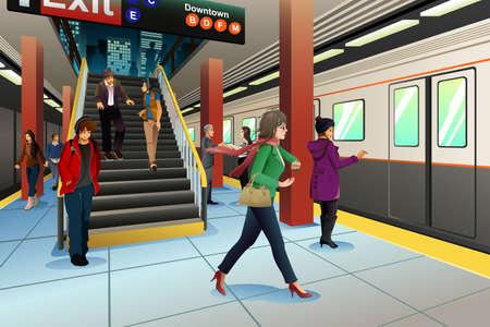 A vector illustration of travelers at subway station 일러스트