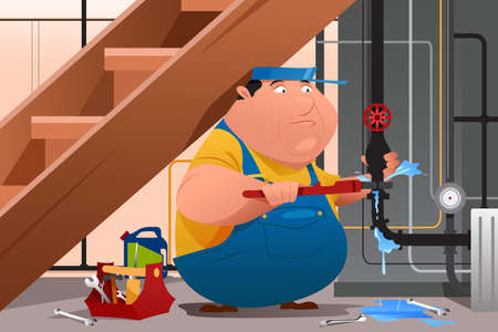 fixing: A vector illustration of plumber fixing a leaky water pipe
