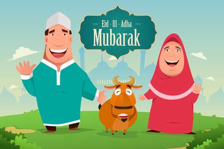 A vector illustration of eid-ul-adha Mubarak greeting card design