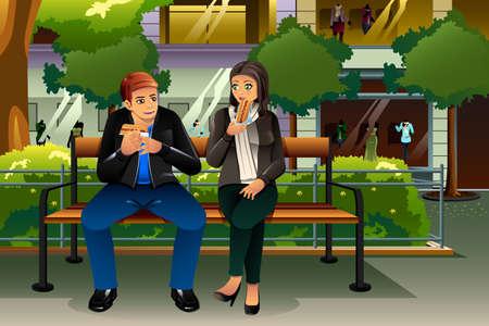 pareja comiendo: Un par de citas ilustración vectorial de comer perro caliente en la ciudad