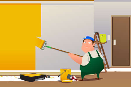 A vector illustration of man painting a wall at home
