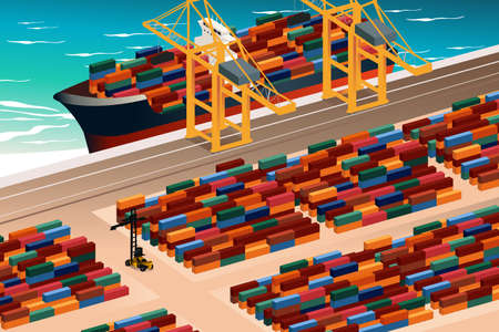 port: A vector illustration of industrial port scene Illustration