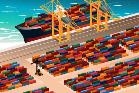 Een vector illustratie van de industriële haven scene Stock Illustratie
