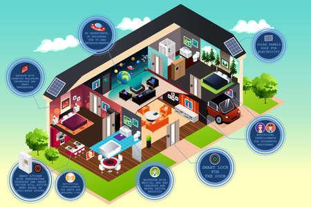 casale: Una illustrazione vettoriale di casa intelligente moderna Vettoriali