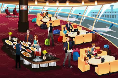 Una ilustración vectorial de la escena de la sala del aeropuerto
