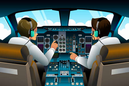 A vector illustration of pilot and copilot inside the cockpit Ilustração