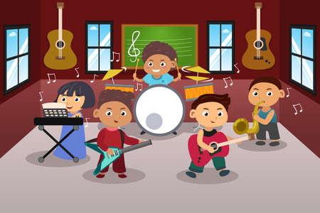 A vector illustration of kids in music band Illusztráció