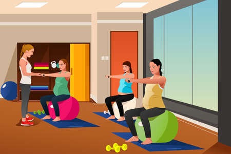 expectation: A vector illustration of pregnant women with exercise balls in gym