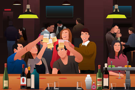 liquor girl: A vector illustration of young people having fun in a bar