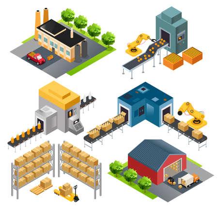 Una illustrazione vettoriale di isometrico capannoni industriali