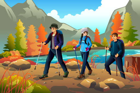 A vector illustration of young people going hiking outdoors