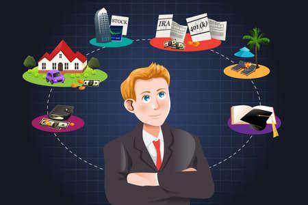 Een vector illustratie van een man na te denken over de toekomst financieel plan Stock Illustratie