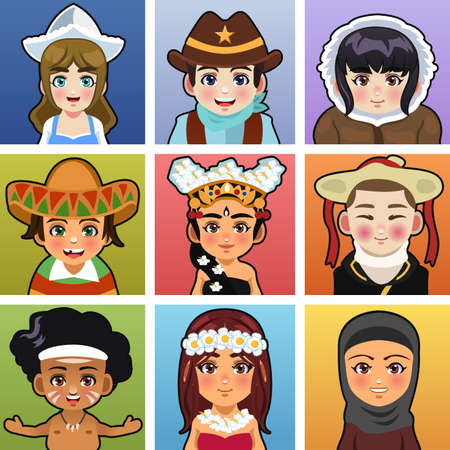 A vector illustration of children from different parts of the world wearing traditional clothing