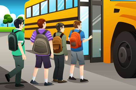 A vector illustration of kids getting on the school bus Иллюстрация