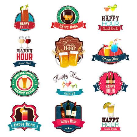 Una ilustración vectorial de Happy Hour Diseños
