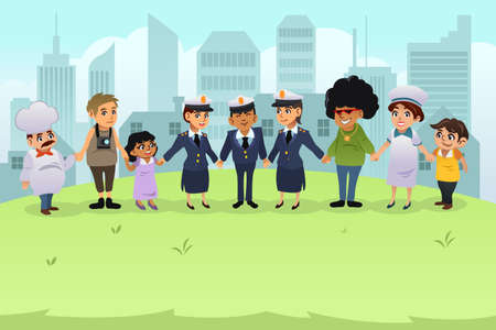 policewomen: A vector illustration of policeman and policewomen holding hands with regular citizens