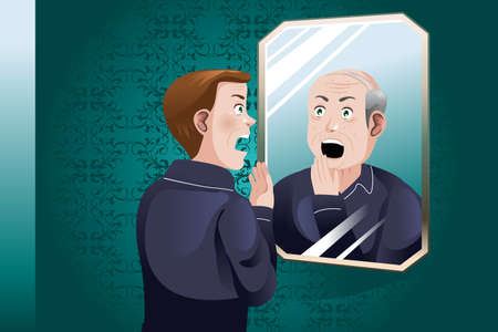astonished: A vector illustration of a Young Man Looking At an Older Himself in the Mirror