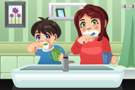 A vector illustration of kids brushing their teeth Ilustração